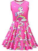 ราคาถูก เดรสเด็กผู้หญิง-เด็ก Toddler เด็กผู้หญิง ซึ่งทำงานอยู่ Street Chic Unicorn การ์ตูน เสื้อไม่มีแขน เหนือเข่า กระโปรงชุด สีบานเย็น