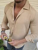 billige Eksotisk herreundertøy-Tynn EU / USA størrelse Skjorte Herre - Ensfarget Lyseblå / Langermet
