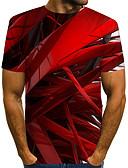 billige T-skjorter og singleter til herrer-Rund hals EU / USA størrelse T-skjorte Herre - Fargeblokk / 3D / Grafisk, Trykt mønster Gatemote / overdrevet Klubb Rød / Kortermet