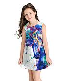 זול שמלות לבנות-שמלה מעל הברך ללא שרוולים אנימציה מתוק / סגנון חמוד בנות ילדים / כותנה