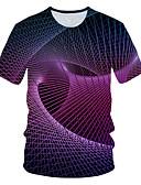 billige T-skjorter og singleter til herrer-Rund hals EU / USA størrelse T-skjorte Herre - 3D Grunnleggende Regnbue / Kortermet