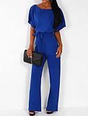 ราคาถูก จั๊มสูทและเสื้อคลุมสำหรับผู้หญิง-สำหรับผู้หญิง พื้นฐาน สีดำ สีแดงชมพู สีเหลือง ชุด Jumpsuits Onesie, สีพื้น สายผูก S M L
