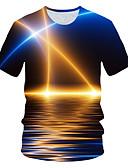billige T-skjorter til damer-Rund hals EU / USA størrelse T-skjorte Herre - Fargeblokk / 3D / Grafisk, Trykt mønster Gatemote / overdrevet Klubb Marineblå / Kortermet