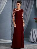 baratos Vestidos de Noite-Linha A Decorado com Bijuteria Longo Renda Transparente / Elegante Evento Formal Vestido 2020 com