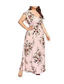ราคาถูก เดรสพลัสไซซ์-สำหรับผู้หญิง ขนาดพิเศษ เซ็กซี่ สวิง แต่งตัว - ลายพิมพ์, ลายดอกไม้ ขนาดใหญ่ คอวีลึก