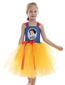 Χαμηλού Κόστους Φορέματα για κορίτσια-Παιδιά Νήπιο Κοριτσίστικα Ενεργό χαριτωμένο στυλ Άσπρο Κινούμενα σχέδια Εξώπλατο Δίχτυ Patchwork Αμάνικο Ως το Γόνατο Φόρεμα Κίτρινο