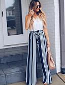 abordables Faldas para Mujer-Mujer Básico Delgado Perneras anchas Pantalones - A Rayas Estampado Azul Marino Amarillo Wine M L XL
