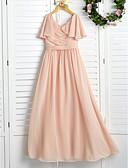 Χαμηλού Κόστους Φορέματα για παρανυφάκια-Γραμμή Α Με Κόσμημα Μάξι Σιφόν Φόρεμα Νεαρών Παρανύμφων με Πλισέ / Βολάν / Γαμήλιο Πάρτι