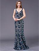 povoljno Maturalne haljine-A-kroj Y-izrez Do poda Sa šljokicama Formalna večer Haljina s Perlica po TS Couture®