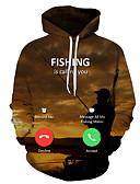 olcso Férfi pólók és pulóverek-Férfi Alkalmi / Alap Kapucnis felsőrész Mértani / 3D / Szöveg