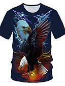 billige T-skjorter og singleter til herrer-Rund hals EU / USA størrelse T-skjorte Herre - Fargeblokk / 3D / Dyr, Trykt mønster Gatemote / overdrevet Klubb Navyblå / Kortermet
