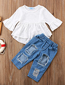 זול סטים של ביגוד לתינוקות-סט של בגדים שרוול ארוך אחיד בנות תִינוֹק