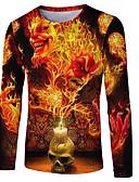 ราคาถูก เสื้อเชิ้ตผู้ชาย-สำหรับผู้ชาย ขนาดพิเศษ เสื้อเชิร์ต พื้นฐาน / Street Chic ลายพิมพ์ คอกลม ลายบล็อคสี / 3D / กระโหลก สีเหลือง / แขนยาว