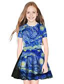 זול שמלות לבנות-שמלה מעל הברך שרוולים קצרים קולור בלוק מתוק / סגנון חמוד בנות ילדים / כותנה