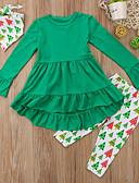 Χαμηλού Κόστους Σετ ρούχων για κορίτσια-Παιδιά Νήπιο Κοριτσίστικα Ενεργό Βασικό Στάμπα Χριστούγεννα Μακρυμάνικο Βαμβάκι Σετ Ρούχων Πράσινο του τριφυλλιού