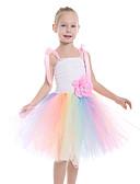 זול שמלות לתינוקות-שמלה עד הברך ללא שרוולים גב חשוף / רשת / טלאים פרחוני / קשת לבן פעיל / סגנון חמוד בנות ילדים / פעוטות