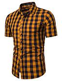 ราคาถูก เสื้อเชิ้ตผู้ชาย-สำหรับผู้ชาย เชิร์ต วินเทจ / พื้นฐาน ทำงาน - ฝ้าย ลายพิมพ์ ปกคลาสสิค ลายสก็อต / หมากรุก ใบไม้สีเขียวที่มีสามแฉก
