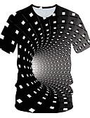 baratos Camisetas & Regatas Masculinas-Homens Tamanho Europeu / Americano Camiseta Básico Geométrica / 3D Decote Redondo Arco-íris / Manga Curta