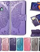 billige Vesker og deksler-Etui Til Samsung Galaxy Galaxy A7(2018) / Galaxy A10 (2019) / Galaxy A30 (2019) Lommebok / Kortholder / Støtsikker Heldekkende etui Ensfarget / Sommerfugl Hard PU Leather