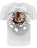 billige T-skjorter og singleter til herrer-Rund hals EU / USA størrelse T-skjorte Herre - Fargeblokk / 3D / Dyr, Trykt mønster Gatemote / overdrevet Klubb / Strand Hvit / Kortermet