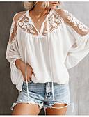 ราคาถูก เสื้อผู้หญิง-สำหรับผู้หญิง เชิร์ต ลูกไม้ คอวี สีพื้น ขาว