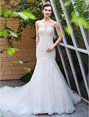 ราคาถูก ชุดแต่งงาน-A-line คอสวีทฮาร์ท ชายกระโปรงชาเปิล ลูกไม้ / Tulle ชุดแต่งงานที่ทำขึ้นเพื่อวัด กับ ของประดับด้วยลูกปัด โดย LAN TING BRIDE®