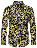 baratos Suéteres & Cardigans Masculinos-Homens Tamanhos Grandes Camisa Social Moda de Rua Floral Colarinho Clássico Amarelo