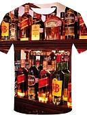 baratos Capinhas para iPhone-Homens Tamanhos Grandes Camiseta Moda de Rua / Exagerado Estampado, Geométrica / 3D / Gráfico Algodão Decote Redondo Arco-íris / Manga Curta