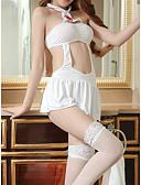 Χαμηλού Κόστους Ρόμπες και πιτζάμες-Γυναικεία Με κοψίματα Sexy Ολόσωμη Φόρμα & Cheongsam / Σετ Εσώρουχα Πυτζάμες Μονόχρωμο Λευκό L XL XXL / Τιράντες