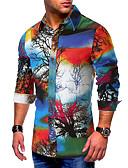 """זול חולצות לגברים-קולור בלוק / גראפי צוארון עם כפתור בסיסי האיחוד האירופי / ארה""""ב גודל כותנה, חולצה - בגדי ריקוד גברים דפוס פול / שרוול ארוך"""