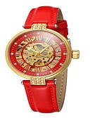 זול שעונים מכאניים-בגדי ריקוד נשים שעון מכני אופנתי אלגנטית שחור לבן אדום עור אמיתי אוטומטי נמתח לבד אודם ורוד מסמיק צהוב עמיד במים חריתה חלולה אנלוגי
