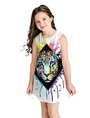 זול שמלות לילדות פרחים-שמלה מעל הברך שרוולים קצרים חיה מתוק / סגנון חמוד בנות ילדים / כותנה