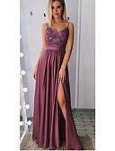 זול שמלות לילדות פרחים-גזרת A רצועות ספגטי עד הריצפה סאטן ערב רישמי שמלה עם חרוזים / אפליקציות / שסע קדמי על ידי JUDY&JULIA