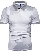 ราคาถูก เสื้อโปโลสำหรับผู้ชาย-สำหรับผู้ชาย Polo ลายบล็อคสี ขาว XL