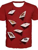 Χαμηλού Κόστους Ανδρικά μπλουζάκια και φανελάκια-Ανδρικά Μεγάλα Μεγέθη T-shirt Βασικό / Εξωγκωμένος 3D / Γραφική / Γράμμα Στρογγυλή Λαιμόκοψη Στάμπα Ρουμπίνι / Κοντομάνικο