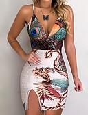 זול שמלות מיני-מיני גב חשוף דפוס, גיאומטרי - שמלה צינור נדן סגנון רחוב פאנק & גותיות בגדי ריקוד נשים
