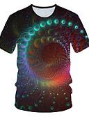 baratos Camisetas & Regatas Masculinas-Homens Tamanho Europeu / Americano Camiseta Básico 3D Decote Redondo Arco-íris / Manga Curta