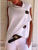 billige Bluser-Bomull Løstsittende T-skjorte Dame - Ensfarget, Lapper Grunnleggende Gul