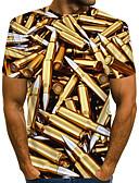 billige T-skjorter og singleter til herrer-Rund hals EU / USA størrelse T-skjorte Herre - Fargeblokk / 3D / Grafisk, Trykt mønster Gatemote / overdrevet Klubb Gull / Kortermet