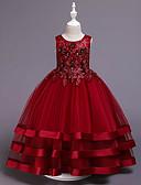 Χαμηλού Κόστους Λουλουδάτα φορέματα για κορίτσια-Πριγκίπισσα Μεσαίου Μήκους Φόρεμα για Κοριτσάκι Λουλουδιών - Βαμβάκι / Σατέν / Τούλι Αμάνικο Με Κόσμημα με Διακοσμητικά Επιράμματα / Κέντημα / Ζώνη