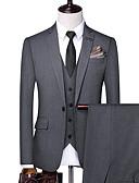 ราคาถูก นาฬิกาสวมใส่เข้าชุด-สำหรับผู้ชาย ชุด, สีพื้น ปกคอแบะของเสื้อแบบน็อตช์ เส้นใยสังเคราะห์ สีดำ / สีเทา / สีกากี