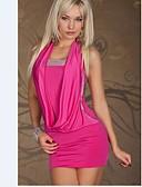 Χαμηλού Κόστους Μίνι Φορέματα-Γυναικεία Βασικό Κομψό στυλ street Λεπτό Εφαρμοστό Φόρεμα - Μονόχρωμο, Πούλιες Πάνω από το Γόνατο Δένει στο Λαιμό
