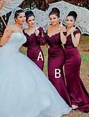 ราคาถูก Special Occasion Dresses-ทรัมเป็ต / เมอร์เมด Scalloped ชายกระโปรงลากพื้น ซาติน เพื่อนเจ้าสาวชุด กับ ลูกไม้ โดย JUDY&JULIA