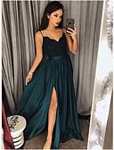 זול שמלות לילדות פרחים-גזרת A רצועות ספגטי עד הריצפה סאטן ערב רישמי שמלה עם אפליקציות / שסע קדמי על ידי JUDY&JULIA