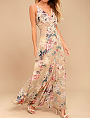 baratos Vestidos Longos-Mulheres Sofisticado balanço Vestido - Estampado, Floral Longo
