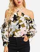 ราคาถูก เสื้อผู้หญิง-สำหรับผู้หญิง เสื้อสตรี ลายพิมพ์ คล้องไหล่ เพรียวบาง ลายดอกไม้ ใบไม้สีเขียวที่มีสามแฉก