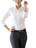 billige Dametopper-Skjortekrage Skjorte Dame - Ensfarget Hvit