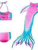 זול בגדי ים לבנות-בגדי ים ללא שרוולים קולור בלוק זנב של בתולת ים פעיל / סגנון חמוד בנות ילדים