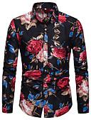 baratos Camisas Masculinas-Homens Camisa Social - Bandagem Elegante Estampado, Floral / Gráfico Algodão Colarinho Clássico Azul / Manga Longa
