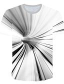 ราคาถูก เสื้อยืดและเสื้อกล้ามผู้ชาย-สำหรับผู้ชาย เสื้อเชิร์ต ลายพิมพ์ คอกลม 3D ขาว / แขนสั้น